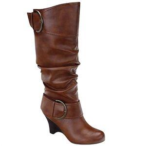 Pesaro Brown Ivan Cognac Knee High Wedge Boots 8.5